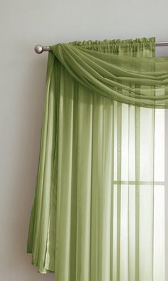 Warm Home Designs Pair of Sage Green Sheer Curtains or Extra Long Window Scarf