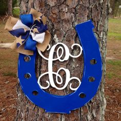 Monogram Initial door hanger,Colts football door hanger,Horse shoe door,cow boy door hanger, by Furnitureflipalabama on Etsy