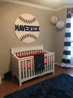 Baseball Nursery Red White And Blue Decor Boy Baby Room