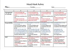 Words Their Way Student Rubric