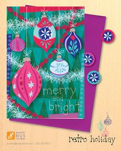 We love Joanne Hus' #designs and #illustrations! Check out this #retro #holidaycard from her site: http://joannehus.com/blog/ + don't forget to visit her Directory of #Illustration #portfolio: http://directoryofillustration.com/ArtistPortfolioThumbs.aspx?AID=5155, #greetingcard #christmas #xmas #winter #ornaments #merry #artist #illustrator #creative