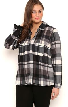 Deb Shops Plus Size Long Sleeve Knit Mixed Plaid Button Front Top with Pockets $20.00