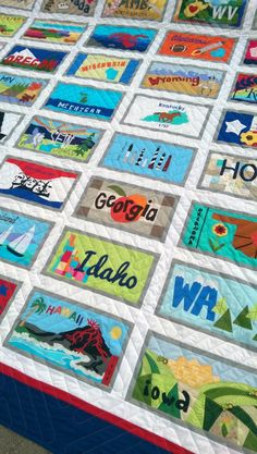 close up, American Made Brand License Plate quilt at Clothworks
