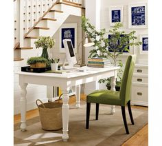 Make Your Dream Come True At Pottery Barn : Cool Interior Room Design With White Vintage Computer Desk And High Green Office Chair Also Laminated Wood Flooring Ideas