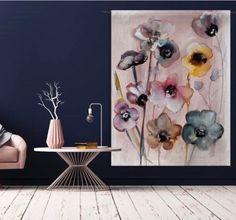 DitwandkleedFlowers in Soft Huesgeeft een warme kleurrijke sfeer in huis! Dezachte kleuren