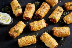 Sweet Potato and Feta 'Sausage' Rolls Looking for an easy vegetarian starter or snack? You can't go past these hearty sweet potato and feta sausage rolls. Vegetarian Starters, Vegetarian Recipes Easy, Veggie Recipes, Cooking Recipes, Vegetarian Canapes, Vegetarian Kids, Greek Recipes, Light Recipes, Yummy Recipes