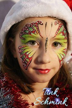 Christmas face painting, Candy Cane Butterfly by Tink Schmink