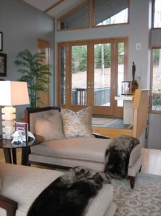 Gray paint color with wood trim
