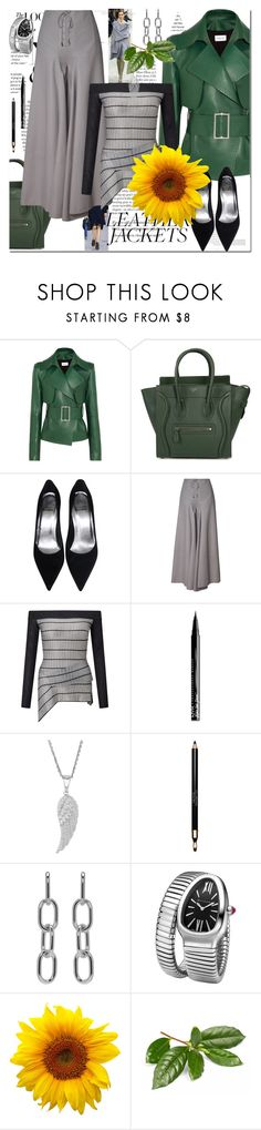 """""""Leather Jackets"""" by ilona828 ❤ liked on Polyvore featuring Balenciaga, Thierry Mugler, CÉLINE, Roland Mouret, NYX, Clarins, Alexander Wang, Bulgari, StreetStyle and polyvoreeditorial"""