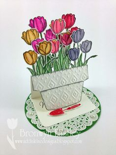 addINKtive designs: Tip Toe through the Tulips - Small Flowerpot Easel Card