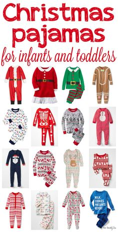Christmas pajamas for infants and toddlers! So cute! and they're all right there, organized out for you!