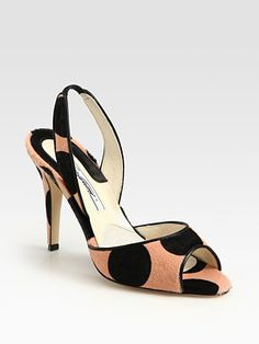 Brian Atwood Polka-Dot Print Pony Hair and Leather Slingback Sandals at Saks