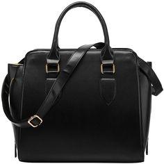 FASH Structured Everyday Office Tote Shoulder Handbag, Black, One... (35 AUD) ❤ liked on Polyvore featuring bags, handbags, tote bags, accessories handbags, black structured tote, structured handbag, purse and black purse