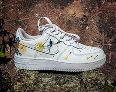 """Nike Air Force 1 """"Dandelion"""", Custom Nike Air Force 1 """"Dandelion"""", Custom Nike Air Force 1 """"Dandelion"""", Custom painted Air Force Ones by myself Up on in August! Wearable art that is crack and water resistant. Nike air force Ones rick and morty custom Nike Air Force Ones, Nike Shoes Air Force, Custom Painted Shoes, Custom Shoes, Nike Custom, Custom Clothes, Sneakers Fashion, Sneakers Nike, Shopping"""