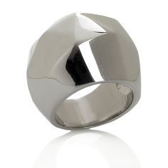 Stately Steel Bold Faceted Dome Ring -- Love. It.