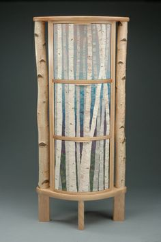 Standing Birches Cabinet by J. M. Syron and Bonnie Bishoff. Birch and polymer clay veneer