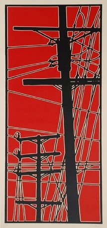 """P.S.- Slightly Askew"", 2007, reduction linocut, 2 colors by Dave Lefner www.davelefner.com/ Tags: Linocut, Cut, Print, Linoleum, Lino, Carving, Block, Helen Elstone, Industrial, Telegraph Poles, Wires"