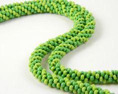 Spring Green Striped Kumihimo Necklace by MaryMorrisJewelry