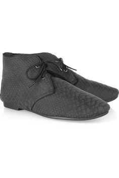 snake-effect suede boots