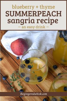 This smooth peach sangria is perfect for enjoying this summer! Studded with chardonnay, Peaches, Blueberries and a Thyme Simple Syrup, its easy to drink! Summer Sangria, Peach Sangria, Kid Friendly Dinner, Kid Friendly Meals, Sangria Recipes, Drink Recipes, Healthy Meals For Kids, Kids Meals, Easy Cocktails