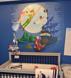Peter pan bedroom peter pan mural for a nursery contemporary nursery peter pan nursery decor Peter Pan Bedroom, Peter Pan Nursery, Bedroom Themes, Nursery Themes, Kids Bedroom, Bedroom Ideas, Nursery Boy, Bedroom Wall, Nursery Decor