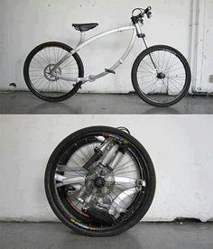 Uma bicicleta que se enrola por completo.