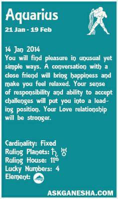 Aquarius Daily horoscope for 14th January 2014.