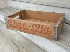Vintage ChocOla Wood Crate by BluePawRelicsnResto,