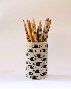 Eye ceramic pencil holder by KinskaShop on Etsy, £30.00