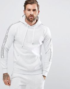 Illusive London Muscle Hoodie In Gray With Taping - Gray