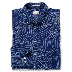 for the gents    Indigo Palm Long Shirt, in 100% cotton with washed indigo-dyed yarns