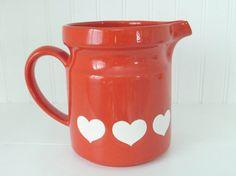 Red Heart Pitcher Waechtersbach  32 oz by MaryWaldsPlace on Etsy #GotVintage  #Vintage  #Kitchen