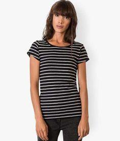 Tee-shirt rayé en coton à col rond et manches courtes Noir rayé