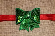Green Bow Headband Red Sequin Bow 3 on by CLulusLittleLovelies