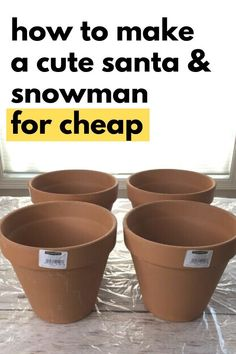 Decorate your front yard with these cute planter Santa and snowman made from cheap terra cotta flower pots. Easy dollar store pots outdoor Christmas decoration idea. This can also be a fun Christmas craft activity for kids, so decorate your home for the Holiday on a budget. Dollar Store Christmas, Cheap Christmas, Christmas Snowman, Christmas Crafts, Christmas Ideas, Winter Planter, Pottery Barn Christmas, Apple Barrel, Terracotta Flower Pots