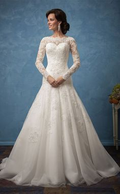 lace wedding dresses with long sleeves Amelia Sposa 2017
