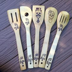 Sugar Skull Bamboo spoon set - My Sugar Skulls