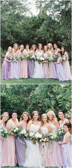 Mismatched maids, bridesmaids in pastel, light purple, pink, wedding fashion // Jenna McElroy Photography