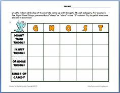 Classroom Freebies: Halloween-themed Scattegories-type Activity