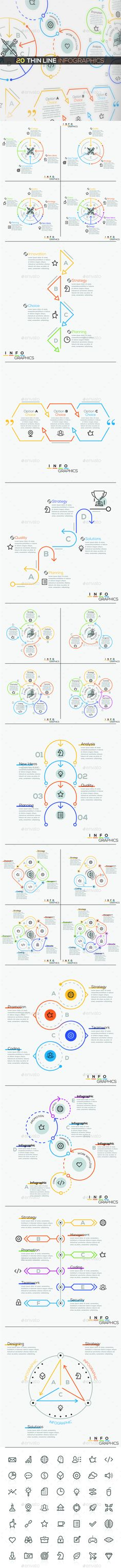 20 Thin Line Infographics  — PSD Template #information #concept • Download ➝ https://graphicriver.net/item/20-thin-line-infographics/18180778?ref=pxcr