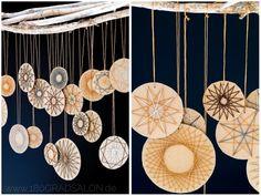 Fadengrafik Sterne aus Bäckergarn - Adventsdeko basteln