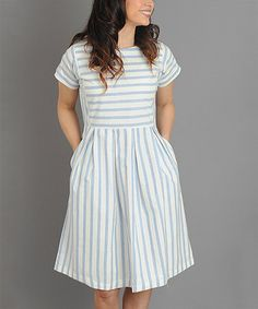 Love this Blue & White Chambray Stripe A-Line Dress on #zulily! #zulilyfinds