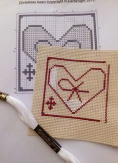 Cross stitch Christmas Folk Heart digital by CraftwithCartwright