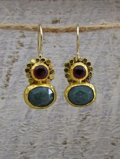 24k Solid Gold Earrings with Garnet and Aventurine Gemstones by Omiya