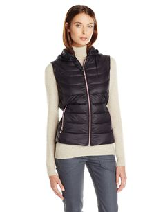 Bernardo Women's Packable Cinched Back Fit & Flare Vest with Detachable Hood, Black, Medium. Hooded vest in packable channel-quilted down featuring cinched-back waist with shirttail hem. Contrast zippers at entry and hand pockets.