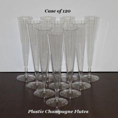 360 of these ordered for the tables and toasting... clear Plastic Champagne Flutes - Great for Wedding Toasting (Case of 120) Clear Lake Enterprises http://www.amazon.com/dp/B009ZYSTEQ/ref=cm_sw_r_pi_dp_.EZMtb1S63GPM5N2