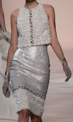 Georges CHAKRA - Haute Couture - Spring 2015 - Gorgeous silver dress (what) - Georges CHAKRA – Haute Couture – Spring 2015 – Gorgeous silver dress (what) - Couture Fashion, Runway Fashion, Womens Fashion, Chanel Couture, Love Fashion, High Fashion, Fashion Design, Mode Chanel, Silver Dress