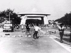 Clark Air Base A weeklong strike at Clark's main gate severely crippled base activities. I remember this. Angeles City Philippines, Air Force Bases, Military Life, Manila, Childhood Memories, Aviation, Main Gate, Street View, History