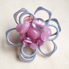 PINK Recycled Pop Tab/Pull Tab Hair Clip.