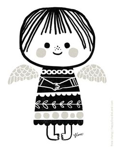 Christmas Angel - I love the simplicity of this, would be a great lino cut print Silver or gold on red